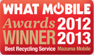 What Mobile Awards 2012 / 2013 Winner - Best Recycling Service